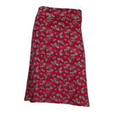 Burgundy Floral Knee Skirt