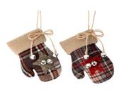 Flannel Mitten Ornament w Bell 2 Styles