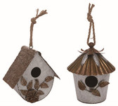 Galvanized Metal Tectured Birdhouse 2 Asst