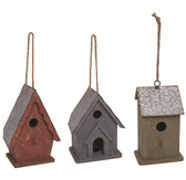 Wood/Metal Country Birdhouse 3 Asst