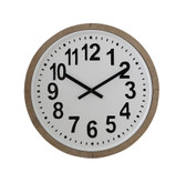 "24.25"" Round Wood Framed Metal Wall Clock"