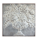 "36.25"" Square Floral Bouquet Metal Wall Décor in Distressed Finished"