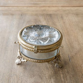 Embossed Glass Flower Box with Antique Brass Trim