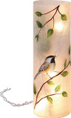 Round Glass Bird Vase w/LED