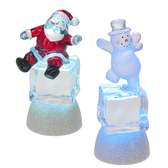 Lighted LED Santa or Snowman on Ice Cube Mini Shimmer