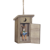 Outhouse with Deer Ornament