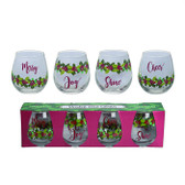 Glass Poinsettia 16oz Wine Glasses