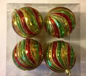 Swirl Stripe Ball Ornaments (Set f 4)
