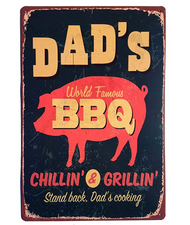 "Dad's BBQ Vintage Tin Sign 12"" x 8"""