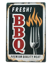 "Fresh BBQ Premium Quality Meat Tin Sign 12"" x 8"""