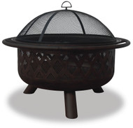 Oil Rubbed Bronze Wood Burning Outdoor Firebowl with Lattice Design