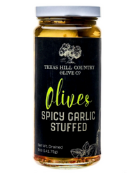 Spicy Garlic Stuffed Olives 5 oz - Texas Hill Country Olive Co