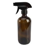 16 oz Amber Boston Round Bottle w/ Trigger Sprayer