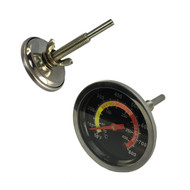 "Stainless Steel BBQ Smoker Temperature Gauge -  Reads F°/C°, 3"" Stem"
