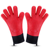 Heat Resistant Silicone Gloves w/ Inner Cotton Layer - Waterproof