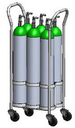 Oxygen Cylinder Roll-About Holds Six D or E Style Oxygen Cylinder (1070-6W)