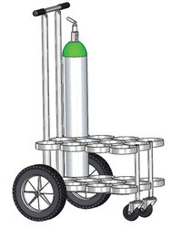 "MRI Compatible Oxygen Cylinder Cart For 12 D or E (4.38"" DIA) Style Oxygen Cylinders (1075A )"