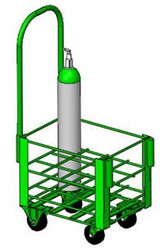 "Heavy Duty Oxygen Cylinder Cart With Removable Handle For 12 D or E (4.38"" DIA) Style Oxygen Cylinders (1075SHD)"