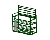 "Heavy Duty Oxygen Cylinder Rack With Locking Top For 40 D or E (4.38"" DIA) Style Oxygen Cylinders (1111HHD)"