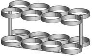 "Oxygen Cylinder Rack for 8 Jumbo D/M22 (5.25"" DIA) Oxygen Cylinders (1136-8)"