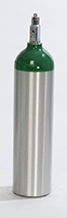"""M9 Medical Oxygen Cylinder (4.38"""" DIA) New, Made in USA"""