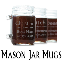 Glass Blasted Artistic Glassware - Mason Jar Mugs