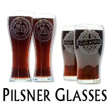 Glass Blasted Home Brewing Glassware - Pilsner Glasses