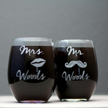 Stemless Wine Glasses Engraved with Mr & Mrs and Last Name (Set of 2)