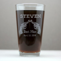 Groomsmen Gift Engraved Pint Glasses with Gun Pistol Theme (Set of 4)