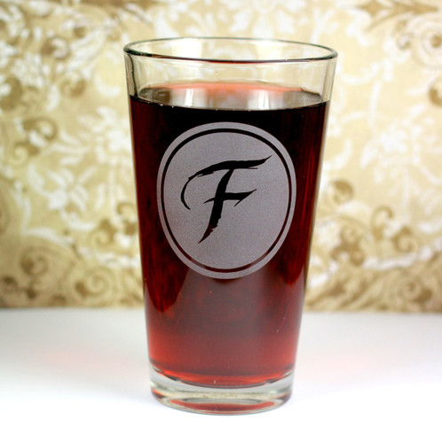 Pint Glasses Etched with Newlywed Initial Monogram  (Set of 2) As Pictured or Pick Your Own Font