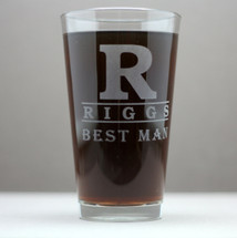Engraved Pint Glasses Groomsmen Large Initial and Name Theme (Set of 3 or 4)