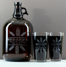 Gallon Growler & 2 Pint Set Engraved with Newlywed Wheat Crowns Design