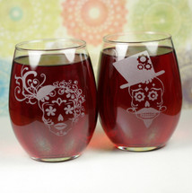 Engraved Stemless Wine Glass with Mr & Mrs Sugar Skull Couple (Set of 2)