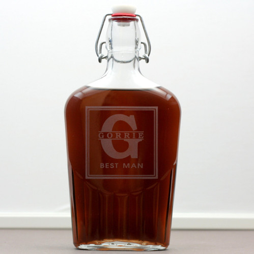 Engraved Glass Flask Personalized with Groomsmen Lastname Through Large Inital Groomsmen Gift