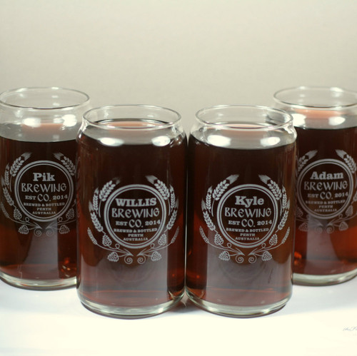 Engraved Groomsmen Modern Hop & Wheat Beer Themed Can Style Glasses (Set of 4)