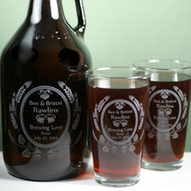 Engraved 64oz Growler and Two (2) Pint Set with 'Brewing Love' Wedding Theme Design