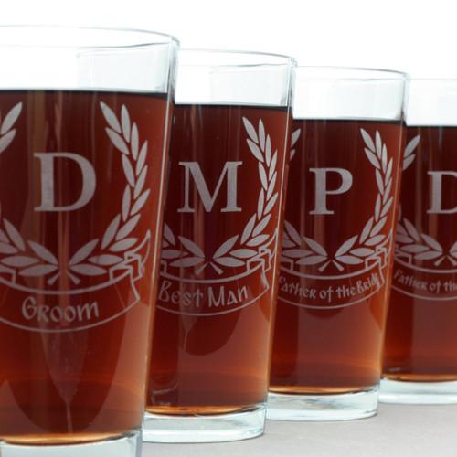 Engraved Groomsmen Pint Glasses with Custom Laurel Leaves & Wedding Banner Design