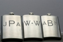 Engraved Stainless Steel Flask with Personalized Monogrammed Groomsmen Initials (Set of 3)