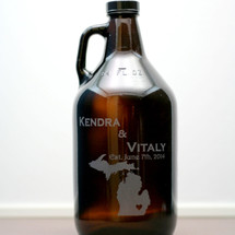 Engraved 64 oz Mini Growler Personalized with State or Country Love Heart Newlywed Gift