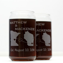 Engraved Newlywed Gift Can Style Glasses with State to State Love Design (Set of 2)