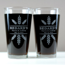 Engraved Newlywed Pint Glasses with Personalized Wheat Crowns Design (Set of 2)
