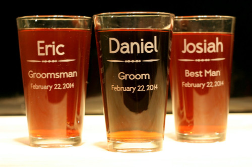 Pint Glasses Engraved and Personalized Groomsmen Wedding Party Gift (Set of 3)