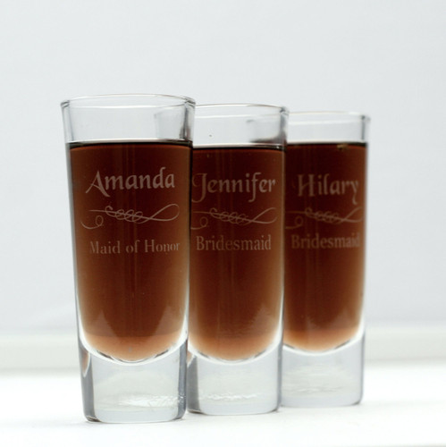 Engraved Shooter Shot Glasses Personalized with Bridesmaid Names Scroll Under Name Design