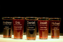 Engraved Personalized Groomsmen Party Wedding Pint Glasses (Set of 5)