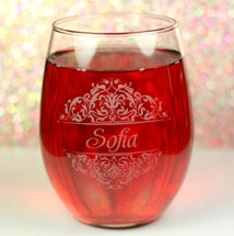 Engraved and Personalized Stemless Wine Glasses with Classic Wedding Bridal Party Baroque Theme (Set of 4)