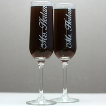 Engraved Modern Champagne Wedding Flutes with Newlywed Couples Last Name (Set of 2)