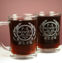 Beer Mugs Engraved with Modern Hop Personalized (Set of 2) Beer Steins