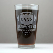 Engraved Pint Glass with Personalized Football Brewing Company (Set of 2)