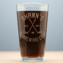 Engraved Personalized Hockey Themed Brewing Company Home Brew Pints