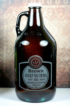 Engraved 64oz Growler with Classy Simple Label Design